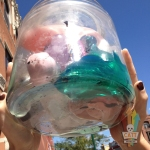A large, sealed glass jar containing deteriorating sex toys made of PVC Jelly. Sunlight shines down on the jar and illuminates the translucent liquid at the bottom.