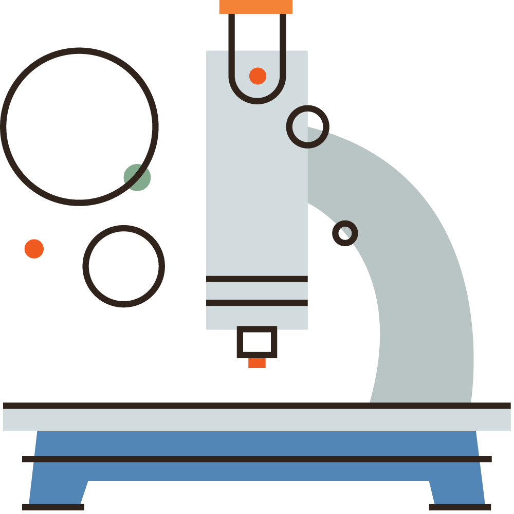 a flat line icon of a microscope