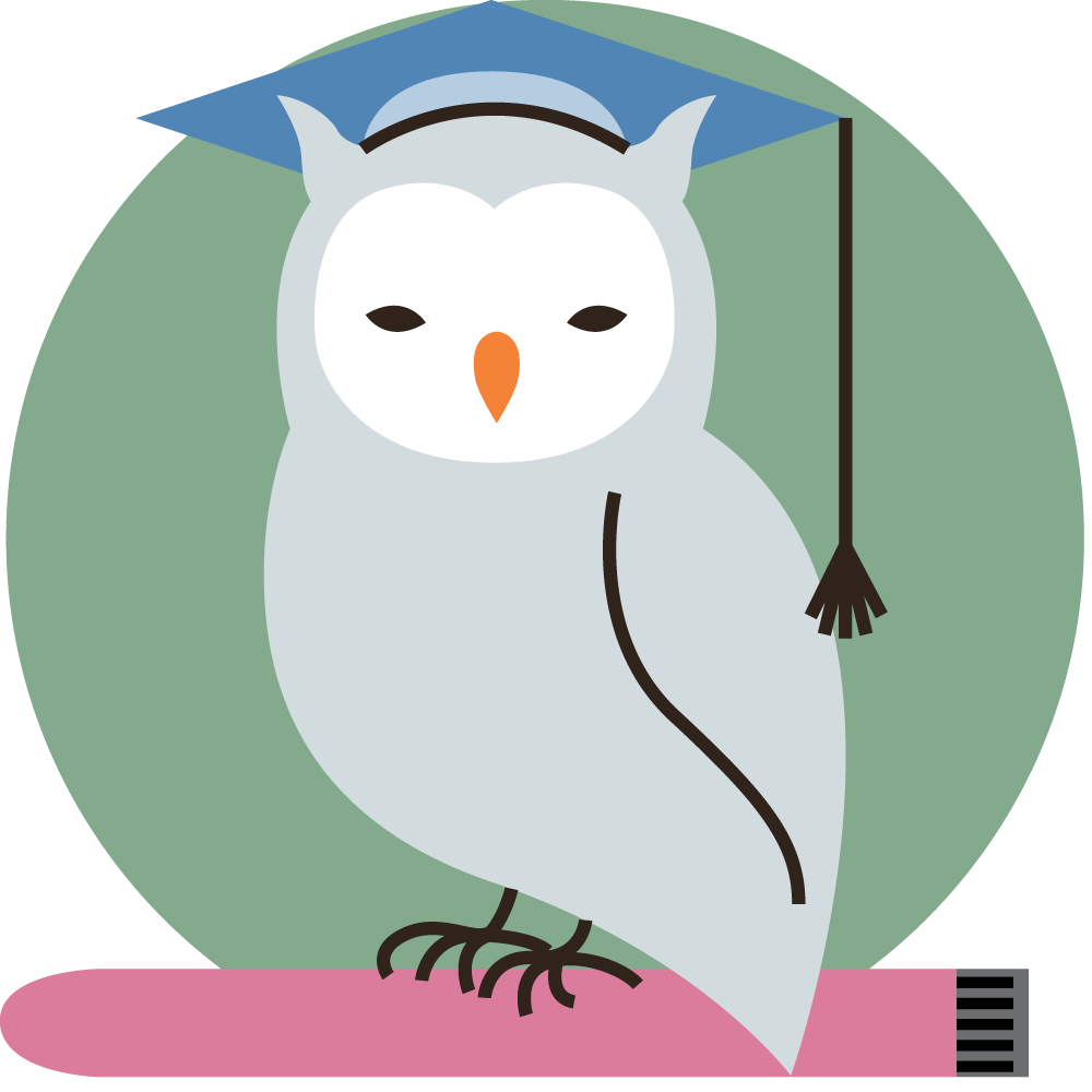 a flat line icon of an owl perched on a slimline vibrator, wearing an academic cap.